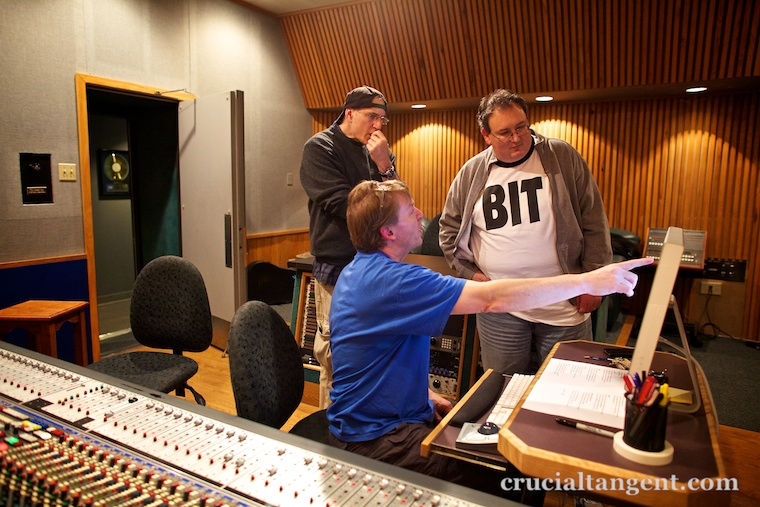 Russell Bond, James Dempsey, and Gordie Freedman in the studio control room.