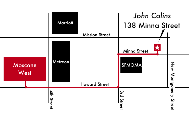 Map showing directions from Moscone West to the James Dempsey and the Breakpoints live show at the John Colins Lounge at 138 Minna Street