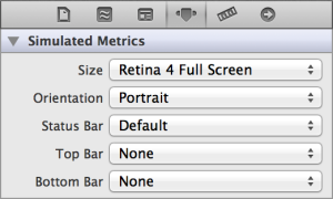 Screenshot of simulated metrics options in Interface Builder