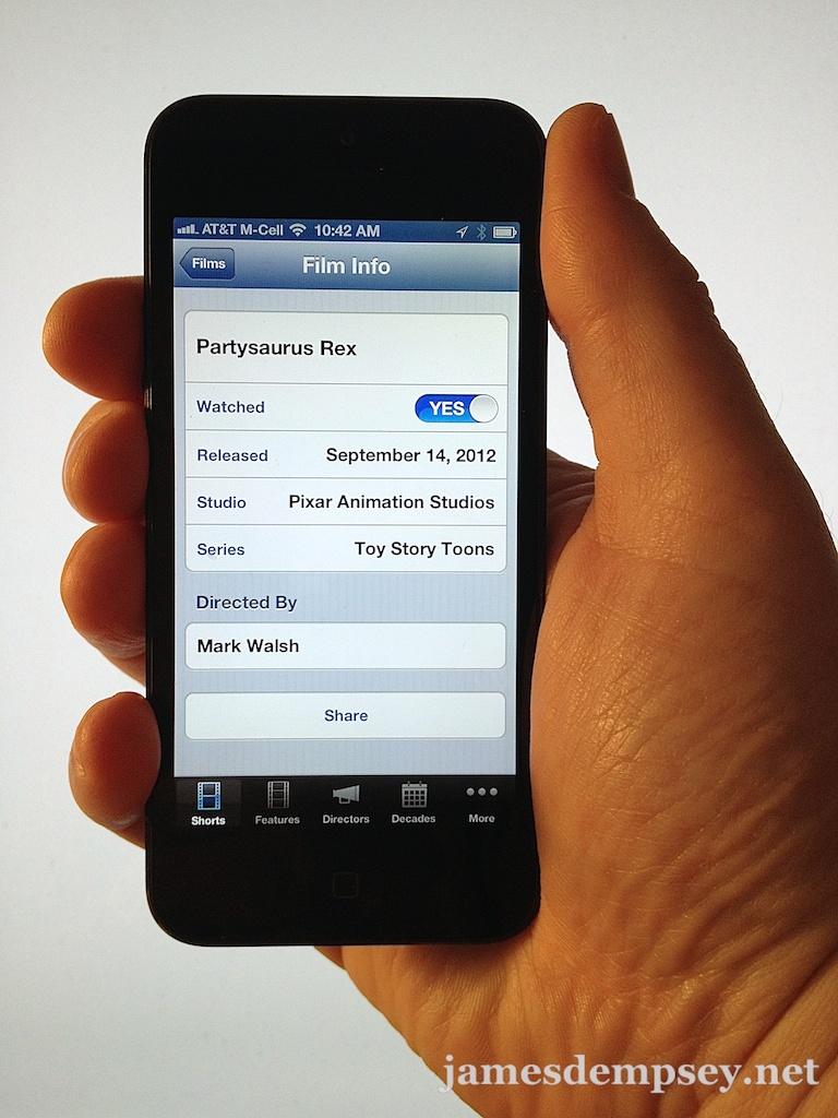 Screenshot of the film detail of 'Partysaurus Rex' in the app WALT.