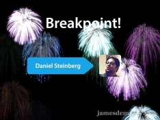 Image of fireworks behind Daniel Steinberg's name and photo to celebrate his induction into the Breakpoints.