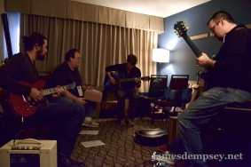 Rusty Zarse, James Dempsey, Jonathan Penn and Brandon Alexander rehearse for the Breakpoint Jam