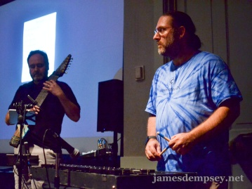 Josh Smith plays xylophone with Eric Knapp on Chapman Stick in the background.